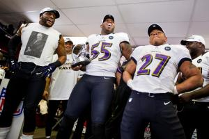 Ravens Locker room with the Trophy